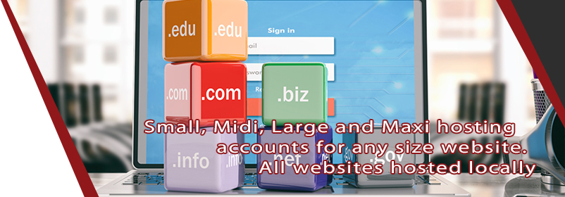 Small, Midi, Large and Maxi hosting accounts for any size website. All websites hosted locally on secure servers.
